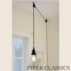 Mason Jar Pendant Light with black lid includes a Quart mason jar with no bottom.The open bottom and ventilated top provides plenty of light while keeping everything cool.  No electrician required for these unique pendant lights! Our pendant lights include a 15½ foot cloth-covered lamp cord with switched socket, two finished ceiling hooks, two cord clamps for adjusting the height of the lamp, and easy-to-follow instructions.Plugs into any outlet. Add our vintage style Edison Bulb and the…