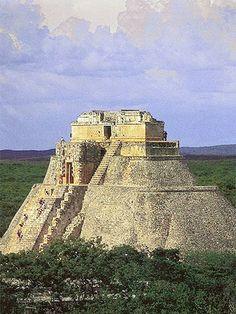Mayan Pyramid of the Magician, Uxmal, Mexico / The Pyramid of the Magician is a…