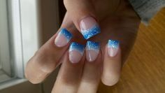 blue and sliver acrylic nail designs - Google Search