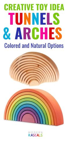 Our colorful rainbows, arches and tunnels provide a colorful twist to traditional block play. Children love the bright colors of these wooden non-toxic kids toys. They are great for open ended play and they provide an excellent introduction to STEM concepts plus they promote the development of fine motor skills.  Lots of great things about these toys but most of all they are so much fun! Grimm's Toys, Baby Toys, Early Education, Childhood Education, Toys For Girls, Kids Toys, Block Play, Montessori Toys, Creative Play