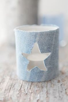 pastel blue - votive candle holder, star cut-out Decoration Christmas, Noel Christmas, Christmas Candles, Christmas Colors, Diy Cadeau, Denim Ideas, Denim Crafts, Recycle Jeans, Love Blue