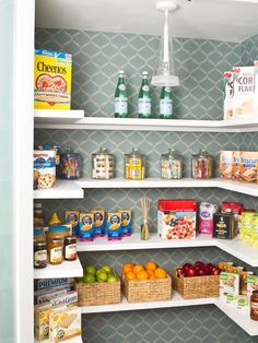 Okay, there's no way anybody's pantry ever looks this perfect, but I do love the idea of putting pretty wallpaper in a utilitarian space. It would make me happy every time I opened the door.