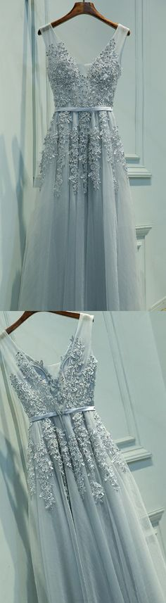 Long Grey Evening Dresses With Applique Floor-length V-Neck Sale Online