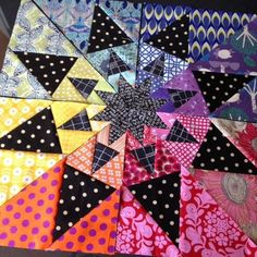 Quilt color idea rainbow and black polka dot