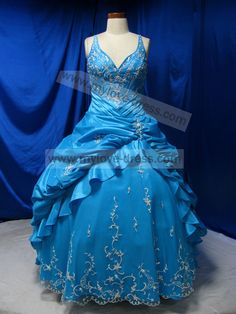 pictures of pretty dresses | 2012 Blue Puffy Satin Embroidery with Straps Pretty Prom Gown