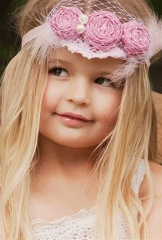 Dollcake - Pink Swan Rose Headband With Netting FITS AGE 2-6