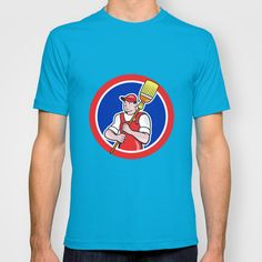 Janitor Cleaner Holding Broom Circle Cartoon T-shirt