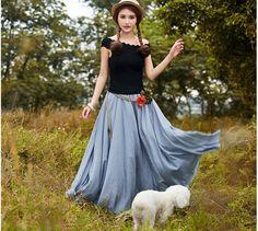 Grey Long Maxi Skirt - High Waisted Soft Cotton Dress Full Pleated Skirt Maxi skirt women Long dress 4 colors cotton fabric skirt grey dress