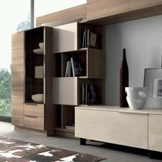 We like the furniture- like juxtaposition of these units. Living Room Wall Units, Living Room Decor, Dining Room, System Furniture, Furniture Design, Interior Design Living Room, Living Room Designs, Kitchen Interior, Muebles Living