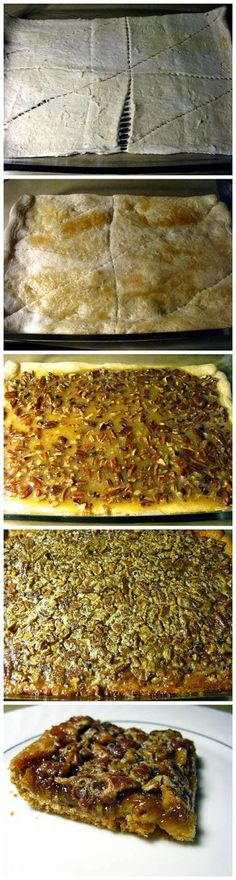 Pecan Pie Bars Ingredients : 1 can of refrigerated crescent rolls 1/2 cup chopped pecans 1/2 cup sugar 1/2 cup corn syrup (dark o...