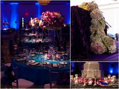 Blue peacock inspired Indian reception via IndianWeddingSite.com