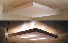 Eric over at Modern Self had a problem which we've heard quite a few times: fugly overhead kitchen lighting Overhead Kitchen Lighting, Drop Ceiling Lighting, Kitchen Ceiling Lights, Florescent Light Cover, Plafond Design, Diy Light Fixtures, Light Panel, Led Panel, Light Covers