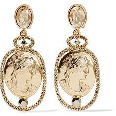 Oscar de la Renta Gold-tone crystal clip earrings (£173) ❤ liked on Polyvore featuring jewelry, earrings, gold, clip earrings, gold colored earrings, crystal stone jewelry, oscar de la renta jewelry and clip back earrings