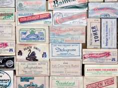 Butter labels from Irish creameries operating in the 1970s PD