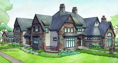 Tudor House Plan with 7398 Square Feet and 5 Bedrooms from Dream Home Source | House Plan Code DHSW077021