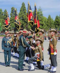 Chief of Army Staff General Dalbir Singh presenting the colours to 16 ASSAM 17 ASSAM 1 & 2 Arunachal Scouts at the Assam Regimental Center Shillong  on Wednesday.