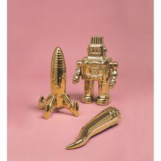Gold Robot By Seletti Memorabilia Ornaments Retro Robot, Porcelain, Vintage Fashion, Ornaments, Cool Stuff, Robots, Gold, Accessories, Robot
