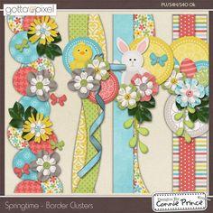 Springtime - Border Clusters :: New Products :: Gotta Pixel Digital Scrapbook Store