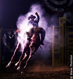 Las Vegas, Nevada, USA - This was shot at National Finals Rodeo. - Photo by Steve Thornton. Rodeo Cowboys, Real Cowboys, Hot Cowboys, Pro Rodeo, National Finals Rodeo, Bareback Riding, Cowboys And Angels, Bucking Bulls, Rodeo Events