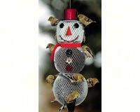 Solar Snow Woman Bird Feeder. Be happy about snow.  Our delightful solar snow woman bird feeder will care for your birds in all weather, while lighting up the feeder at night.  It holds black oil sunflower seeds fed thru its metal mesh sides.   Hang this snowy woman all year and enjoy the snow and your birds.  Also see our Snowman bird feeder and solar snowman bird feeder.