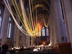 beautiful streamers in beautiful church