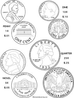 Us Coins Coloring Page Printout Enchanted Learning