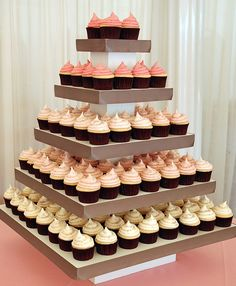 Wedding cupcakes...like the ombre effect...love the square display!