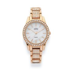Elite Ladies Rose Tone, Round Stone Set Face with Mother of Pearl Dial, Stone Set Bracelet Watch Bracelet Watch, Jewels, Watches, Stone, Lady, Bracelets, Accessories, Clocks, Gadgets