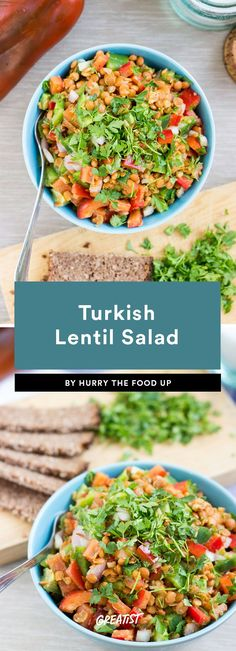 Turkish Lentil Salad~This protein-rich lentil salad is just as good solo (with a few slices of bread if it looks lonely) as it is over a bed of your favorite salad greens. |greatist