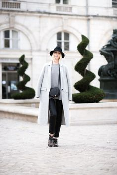 Chloé Mini Marcie and grey wool coat / Anna Sofia - Style Plaza