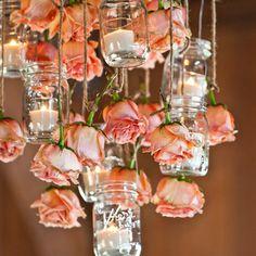 Mason Jar & Hanging Flower Chandelier on metal frame