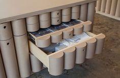 brooks + scarper line interior of AESOP DTLA with cardboard tubes designboom