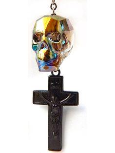 """Warrior Sageleaf"" Earring by Gasoline Glamour (Gunmetal) #InkedShop #cross #skull #earring #crucifix #jewelry"