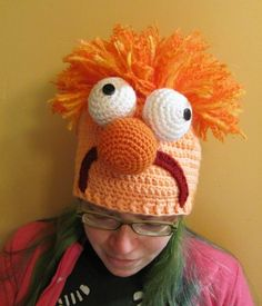 Beaker the Lab Assistant Muppet Hat Crocheted to Order in All Sizes