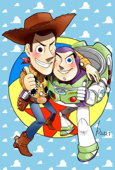I painted this a few months ago for a very poorly little boy who loves Toy Story. His favourite character is Woody, and his twin brother's is Buzz. Woody and Buzz watercolour Disney Pixar, Disney Toys, Disney Fan Art, Cartoon As Anime, Cartoon Characters, Woody Y Buzz, Dibujos Toy Story, Chibi Kawaii, Toy Story Movie