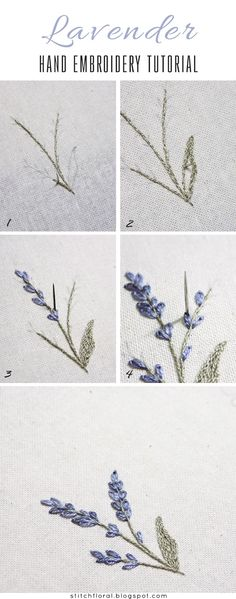 Most up-to-date Screen Embroidery Designs inspiration Strategies Lavendel: gestickte Miniatur Stickerei Hand Embroidery Tutorial, Embroidery Flowers Pattern, Simple Embroidery, Hand Embroidery Stitches, Learn Embroidery, Silk Ribbon Embroidery, Crewel Embroidery, Hand Embroidery Designs, Embroidery Techniques