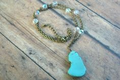 Turquoise Magnesite Stone Brass Wire Wrapped by Cheshujewelry, $24.00