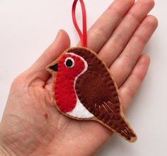 Robin felt bird ornament by lupin on Etsy, £14.00