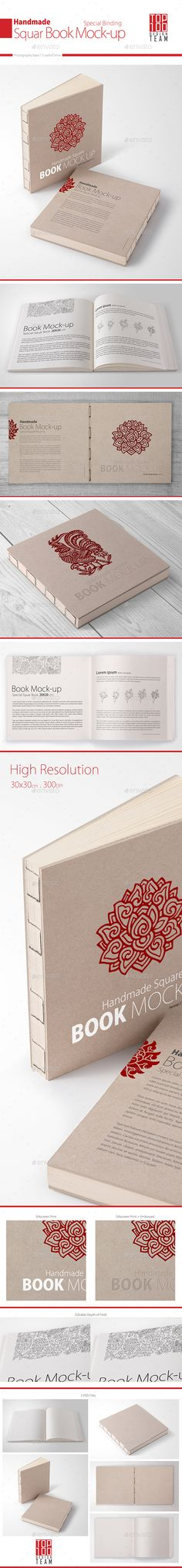 Handmade Square Book Mock-up by Top100team Create a realistic display for your special book design in few seconds. FEATURES : 5 Square handmade book presentationsPhotoshop