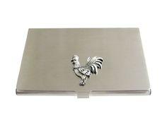Textured Rooster Chicken Bird Business Card Holder