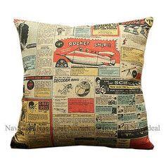 Vintage Cartoon Comic Book Science Space Rocket Decorative Lumbar Pillow Case