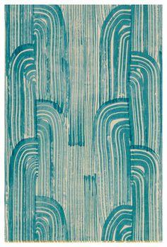 Crescent Wallpaper, Lake/Cream, Kelly Wearstler