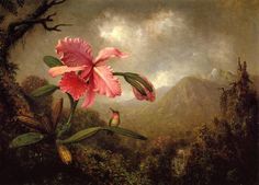 """$314,30""""x40"""", Orchid and Hummingbird near a Mountain Waterfall"""