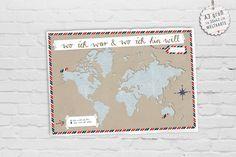 A3! Weltkarte zum Orte eintragen auf Büttenpapier von EINE DER GUTEN - Bücher für ein tolleres Leben auf DaWanda.com
