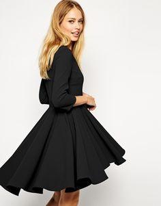 ASOS Skater Dress with Full Dipped Hem Skirt and 3/4 Sleeve