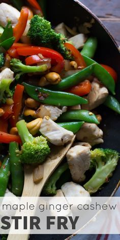 Maple Ginger Cashew Stir Fry, an easy, healthy dinner recipe that is ready in 30 minutes!