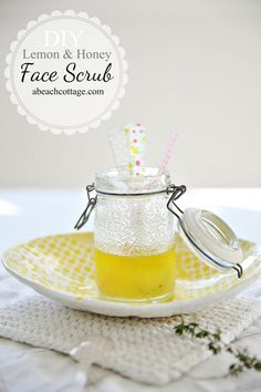 DIY beauty from A Beach Cottage Beauty: lemon & honey face scrub