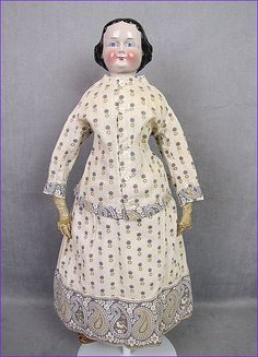 """Early Pink Tint China Lady Doll 19"""" Great Early Costume"""