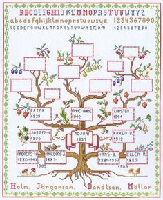 An attractive genealogical sampler with family branches.