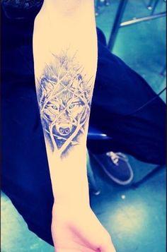 wolf cat tattoo geometric - Szukaj w Google